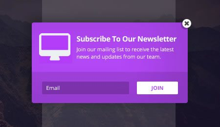 Popup newsletter subscribe forms